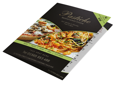leaflets, flyers and menus